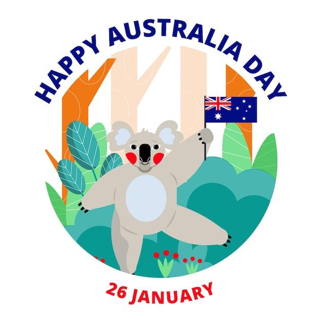 Design piatto australia day koala illustrazione Vettore Premium
