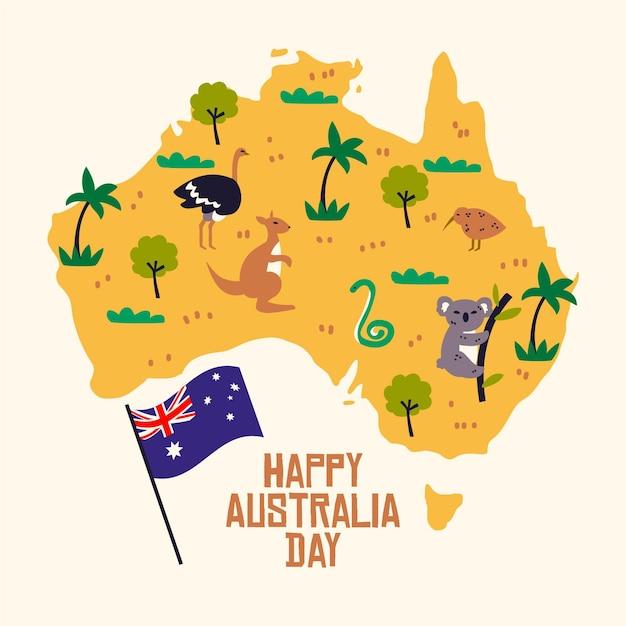 Design piatto australia day con mappa Vettore Premium
