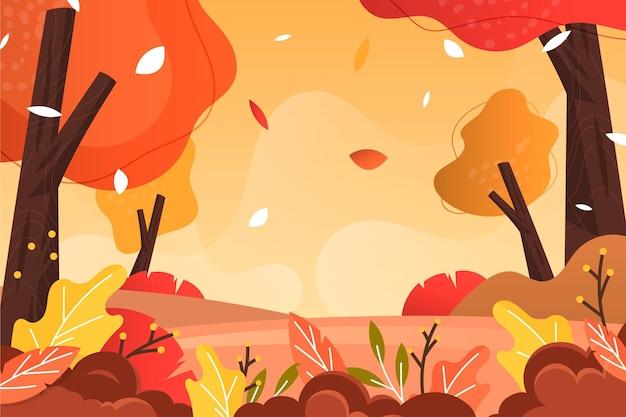 Sfondo autunno design piatto con bellissimo paesaggio della foresta Vettore Premium