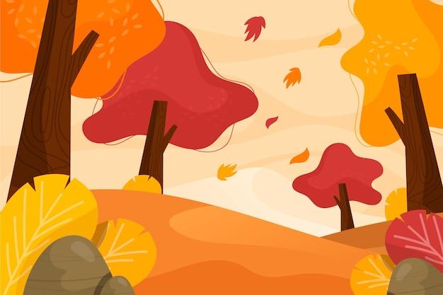 Sfondo autunno design piatto con bellissimo paesaggio Vettore Premium