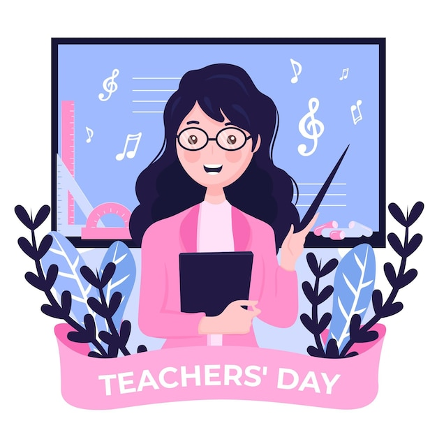 Giornata degli insegnanti di sfondo design piatto con donna e note musicali Vettore Premium