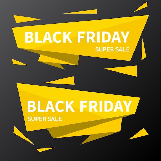Concetto di banner design piatto venerdì nero Vettore Premium