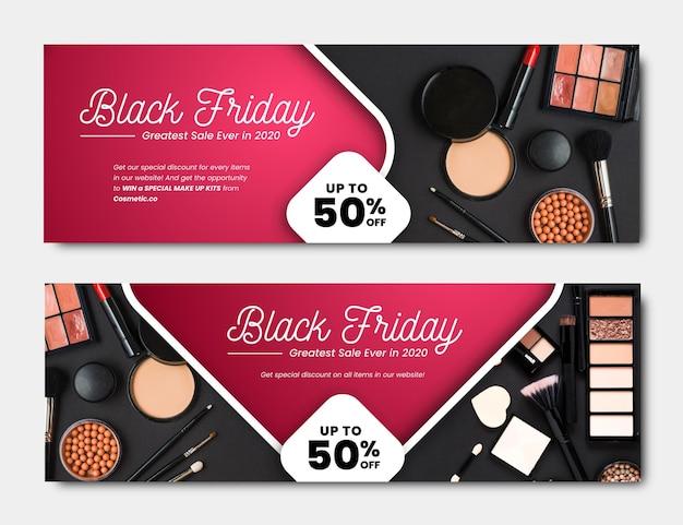 Modello di banner design piatto venerdì nero Vettore Premium