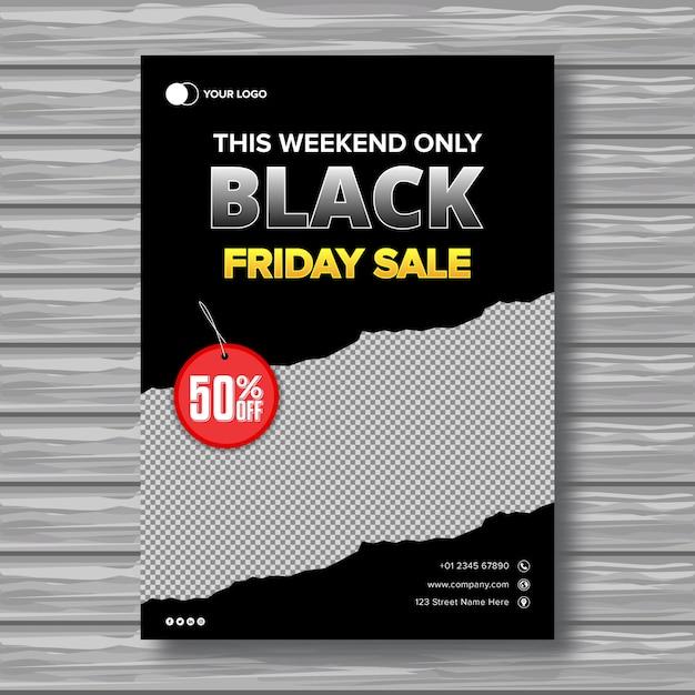 Modello di volantino venerdì nero design piatto Vettore Premium