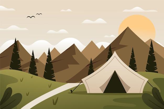 Illustrazione di paesaggio di area campeggio design piatto con tenda e colline Vettore Premium