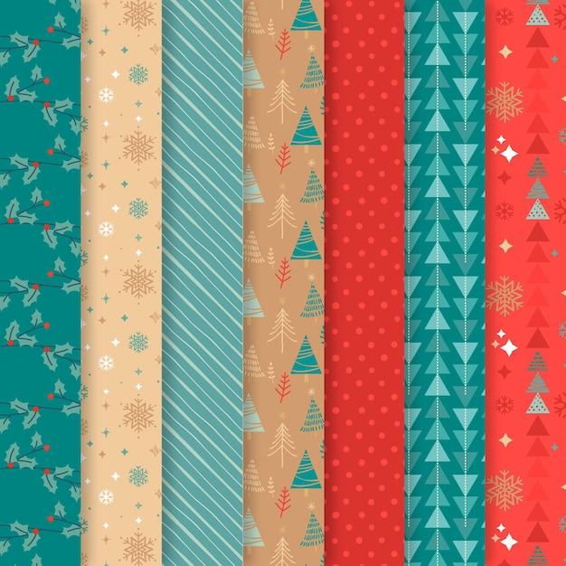Collezione di pattern natalizi design piatto Vettore Premium
