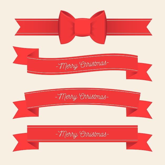 Collezione di nastri natalizi design piatto Vettore Premium