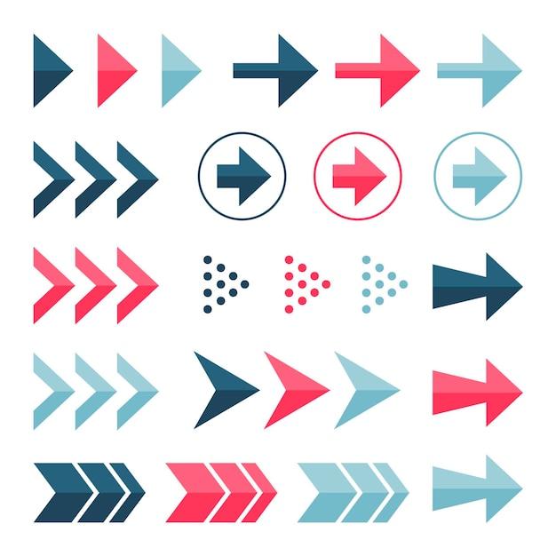 Collezione di frecce colorate design piatto Vettore Premium