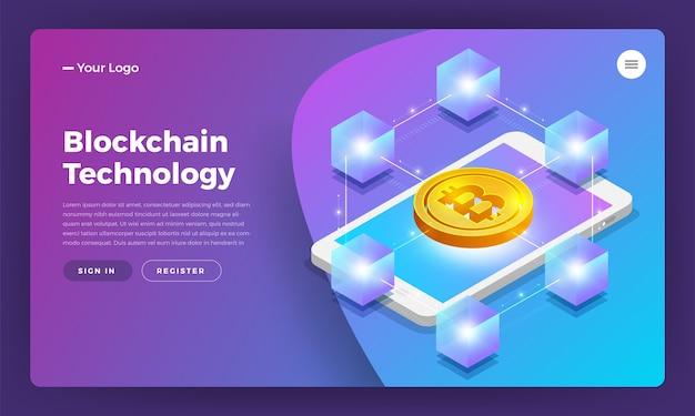 Concetto di design piatto blockchain e tecnologia di criptovaluta Vettore Premium