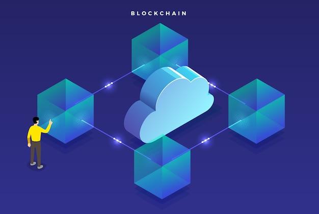 Blockchain di concetto di design piatto Vettore Premium