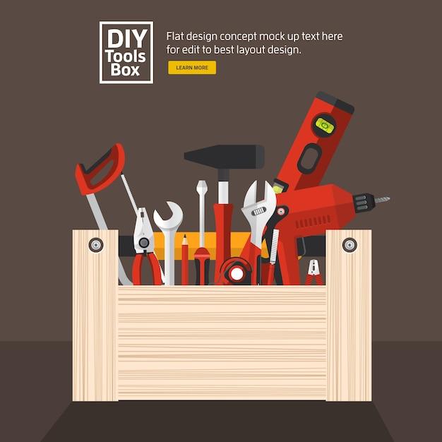 Set di strumenti di lavoro manuale di concetto di design piatto Vettore Premium