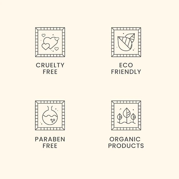 Set di badge cruelty free design piatto Vettore Premium