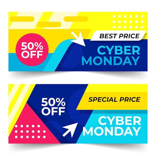 Banner di cyber lunedì design piatto Vettore Premium