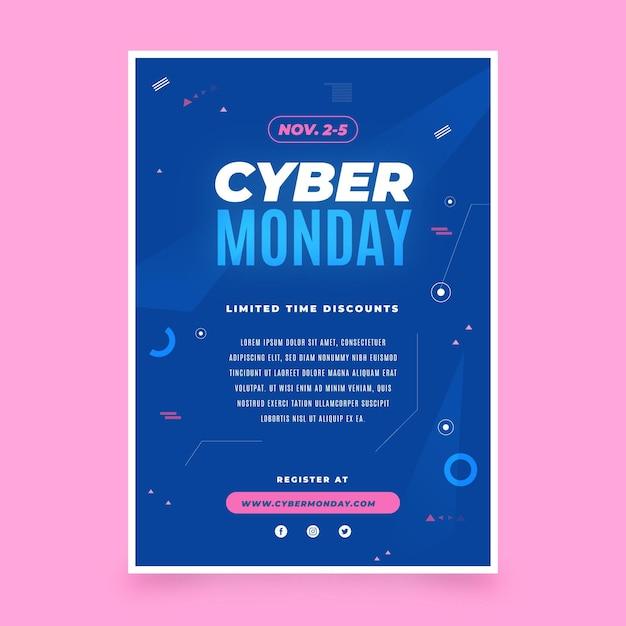 Modello di volantino cyber lunedì design piatto Vettore Premium
