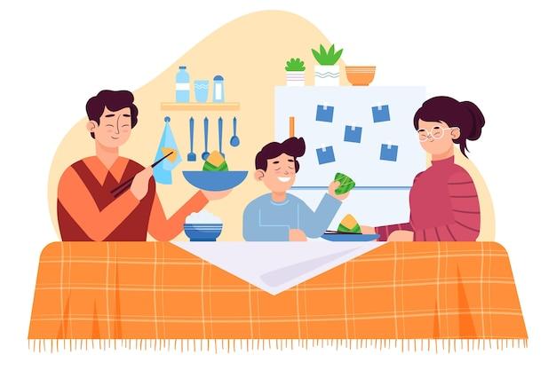 Famiglia design piatto che mangia zongzi Vettore Premium