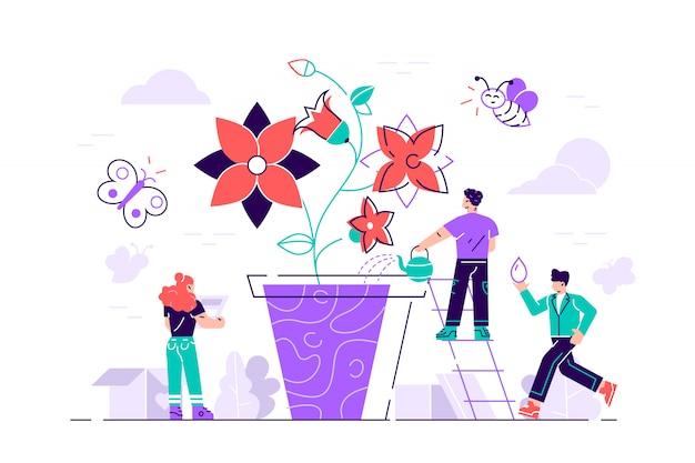 Concetto di stile grafico design piatto. le persone che coltivano vasi da fiori insieme. illustrazione di concetto. illustrazione di stile moderno design piatto per pagina web, carte, poster, social media. Vettore Premium