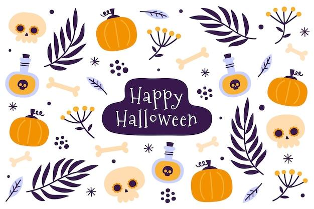Design piatto sfondo di halloween con zucche Vettore Premium