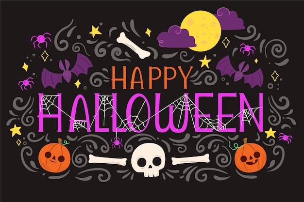 Sfondo di halloween design piatto con teschio e ossa Vettore Premium