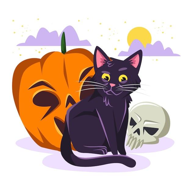 Gatto di halloween design piatto Vettore Premium