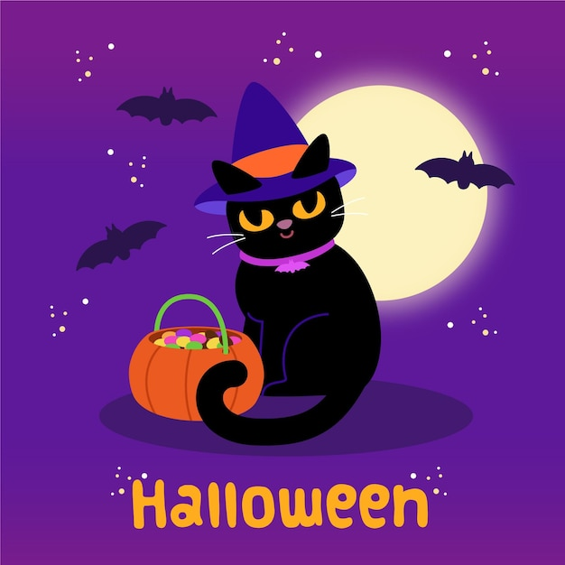 Gatto di halloween design piatto Vettore Premium