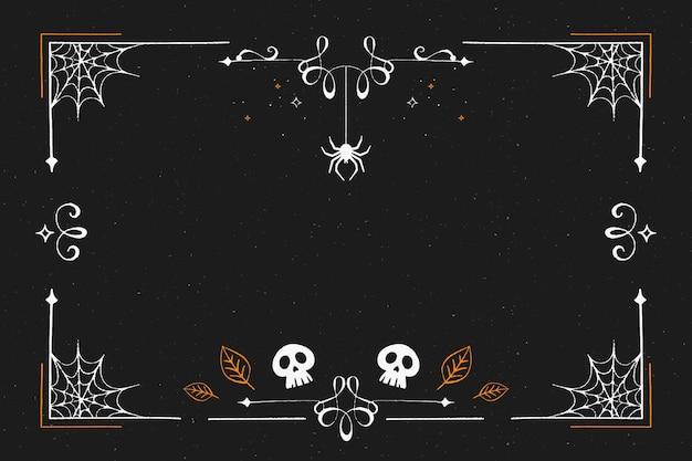 Cornice di halloween design piatto Vettore Premium