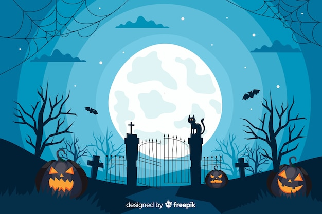 Design piatto di sfondo cancello di halloween Vettore Premium