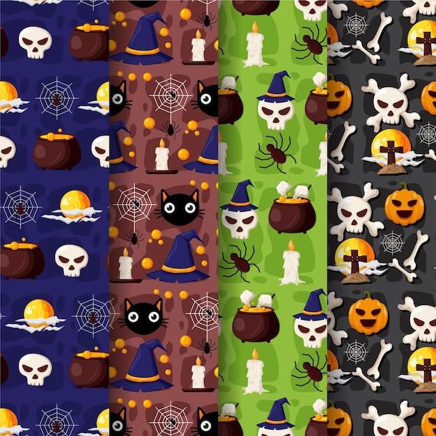Set di modelli di halloween design piatto Vettore Premium