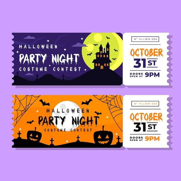 Biglietti di halloween design piatto Vettore Premium