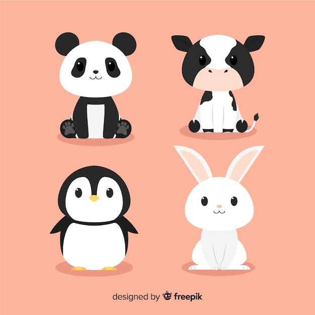 Pack di simpatici animali disegnati a mano design piatto Vettore Premium