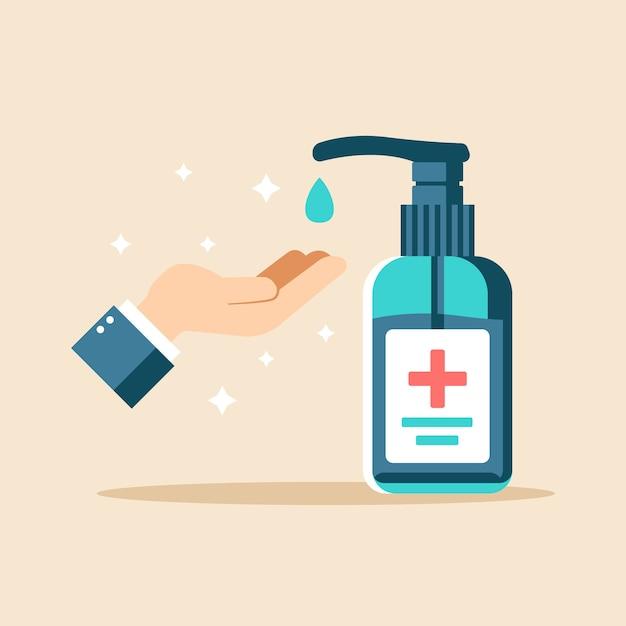 Illustrazione di disinfettante per le mani design piatto Vettore Premium