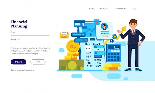 Illustrazione piana di progettazione di un uomo d'affari con pianificazione finanziaria Vettore Premium