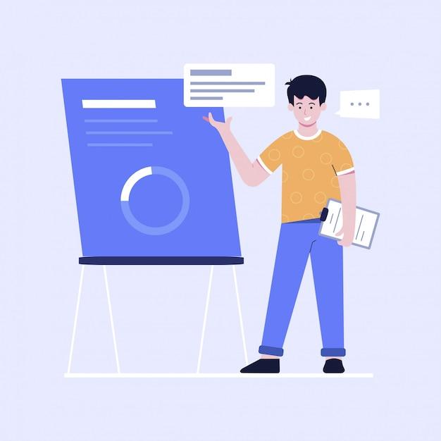 Illustrazione di design piatto della presentazione Vettore Premium