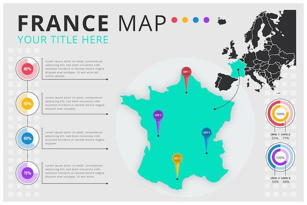 Mappa di infografica design piatto della francia Vettore Premium