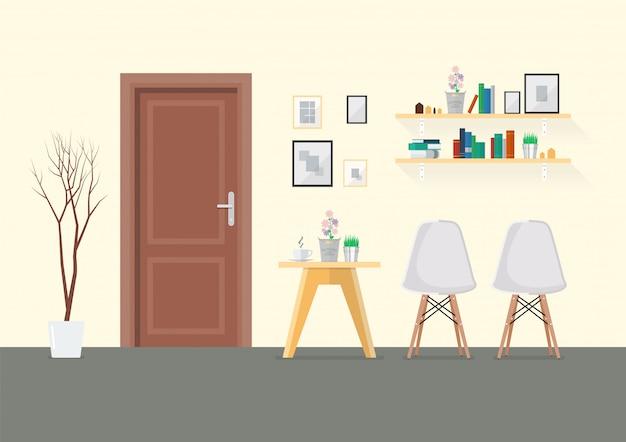 Design piatto interno soggiorno con porta in legno Vettore Premium