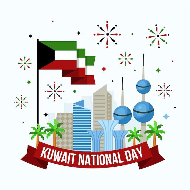 Design piatto kuwait national day edifici e fuochi d'artificio Vettore Premium