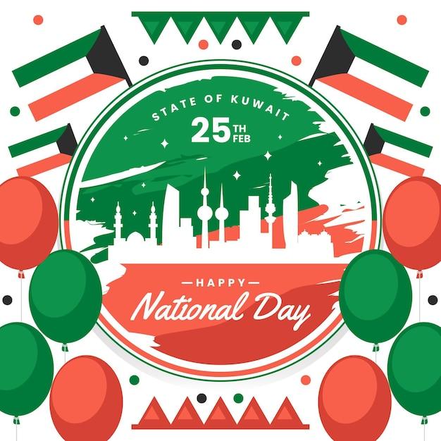 Giornata nazionale kuwait design piatto Vettore Premium