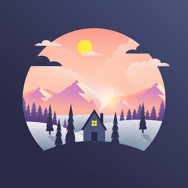 Paesaggio di design piatto con montagne e casa Vettore Premium
