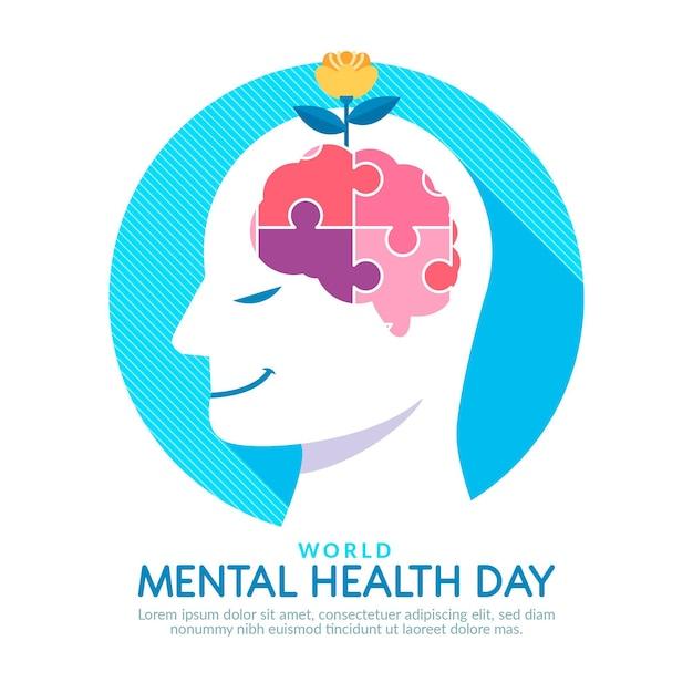 Giornata della salute mentale di design piatto Vettore Premium