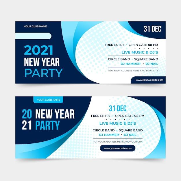 Banner festa di capodanno 2021 design piatto Vettore Premium