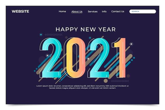 Modello di pagina di destinazione del nuovo anno design piatto Vettore Premium