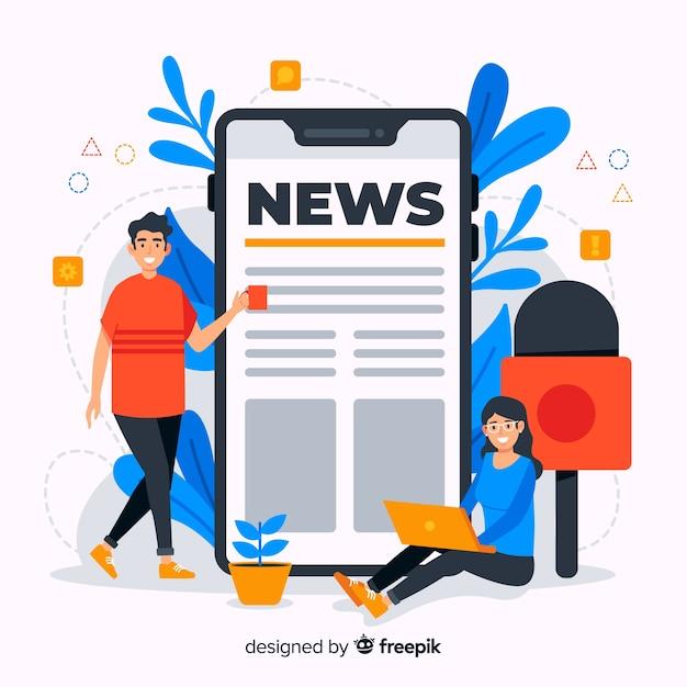 Illustrazione di concetto di notizie design piatto Vettore Premium