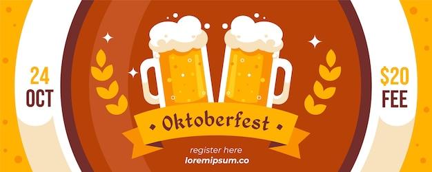 Pacchetto di banner oktoberfest design piatto Vettore Premium