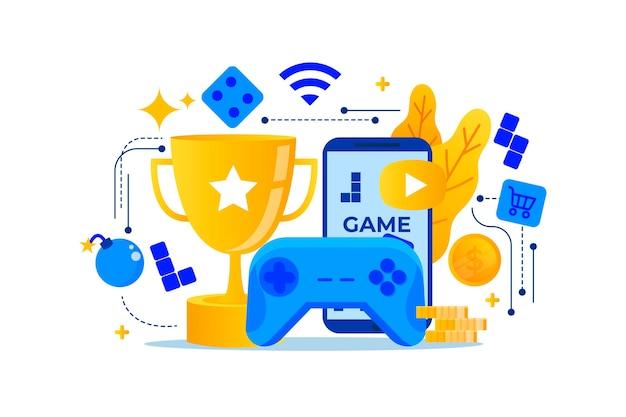 Concetto di giochi online design piatto Vettore Premium