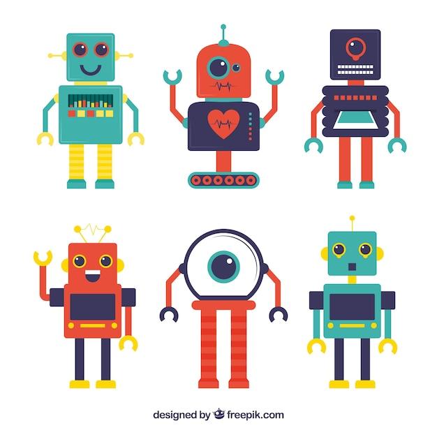 Collezione di personaggi robot di design piatto Vettore Premium