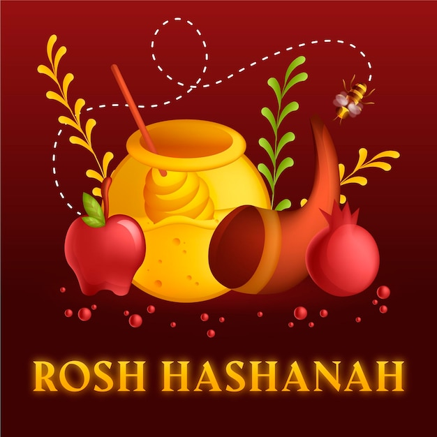 Design piatto rosh hashanah mele e miele Vettore Premium