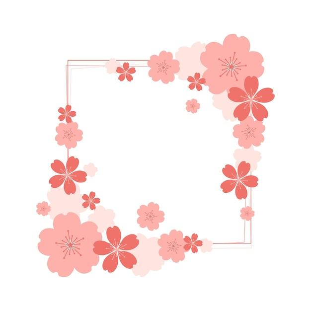 Design piatto sakura fiore copia spazio Vettore Premium