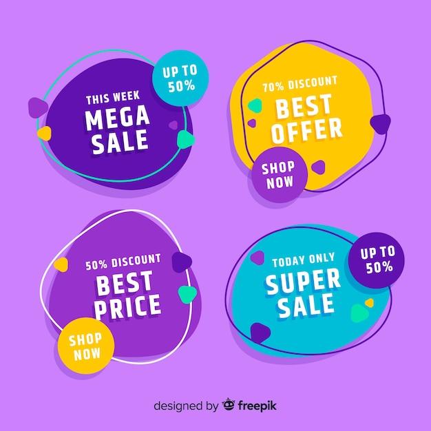 Collezione di etichette di vendita design piatto Vettore Premium