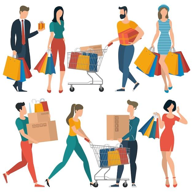 Gente di acquisto design piatto che spende il concetto di consumismo del cliente Vettore Premium