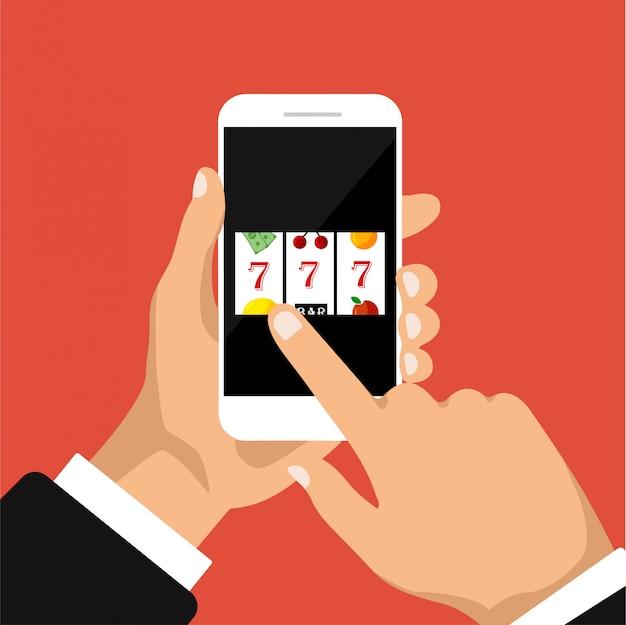 Design piatto di slot machine con jackpot sette fortunati su un display del telefono. la mano tiene smartphone con jackpot. illustrazione. isolato Vettore Premium