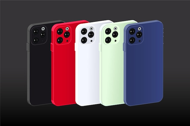 Smartphone design piatto in diversi colori impostati Vettore Premium